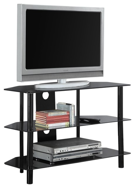 Monarch Specialties I 2506 36 Wide Metal Tv Stand With Tempered