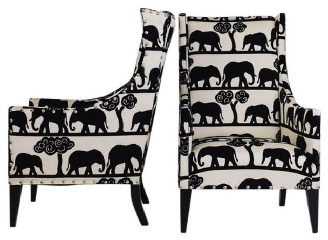 Wing Back Chairs With Elephant Print Pattern   $1,200 Est. Retail     SOLD  OUT