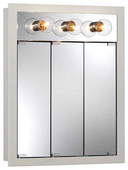 "Granville 24""x30"" Surface Mount Lighted White Medicine Cabinet - Contemporary - Medicine ..."
