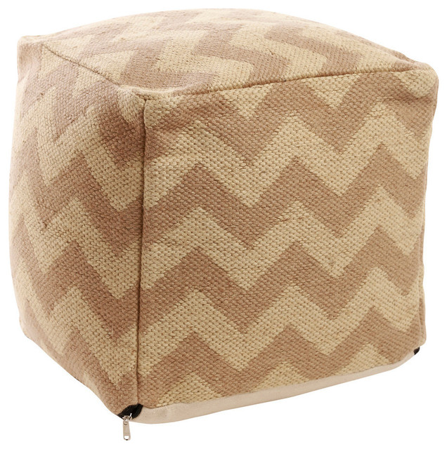 Chevron Pattern Jute Pouf, Natural - Contemporary - Floor Pillows And Poufs - by Best Home Fashion