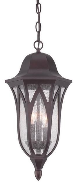 Milano Collection Hanging Lantern 3-Light Outdoor Light, Architectural Bronze.