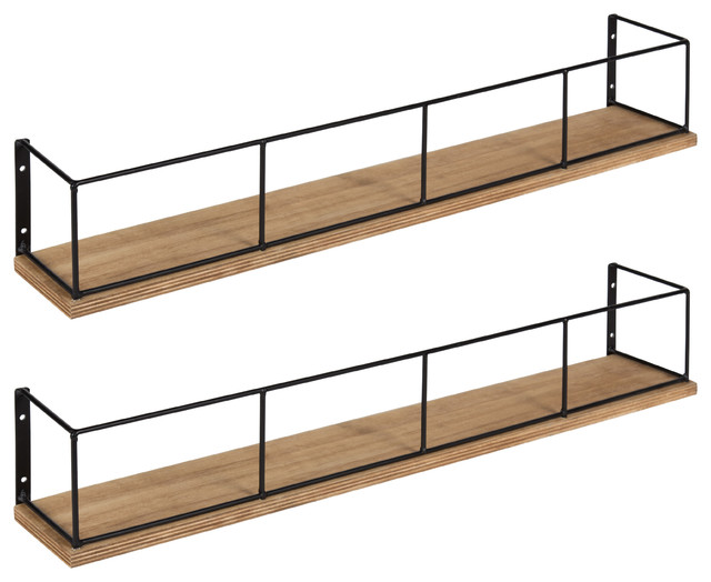 Kate and Laurel Benbrook 24 Floating Wall Shelves, Rustic Brown and Black