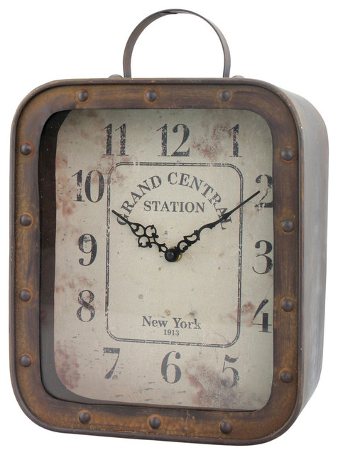 Grand Central Station Square Rustic Tabletop Clock Rustic Desk And Mantel  Clocks