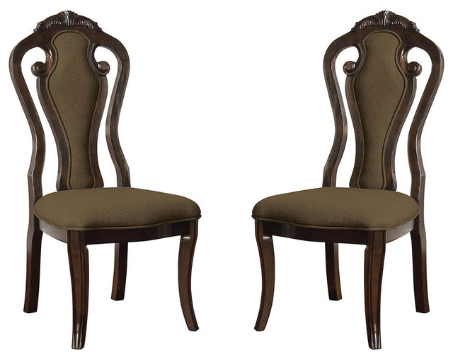Charmant Traditional Dining Side Chairs, Fiddle Back, Fabric Padded Seat, Set Of 2