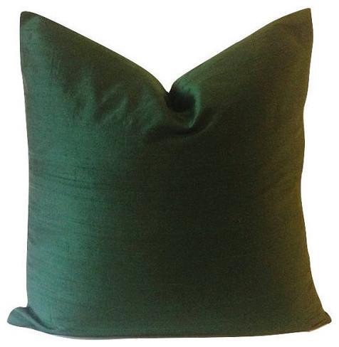 Decorative Silk Dupioni Pillow Cover, Hunter Green, 10x20 - Contemporary - Decorative Pillows ...