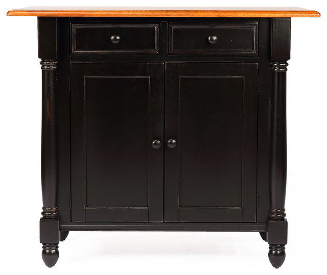 Sunset Trading Antique Black Kitchen Island With Cherry Drop Leaf Top Islands And