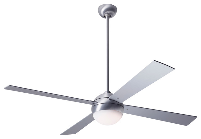 Modern Fan Ball Led-Light Brushed Aluminum 42 Ceiling Fan With Wall Control.
