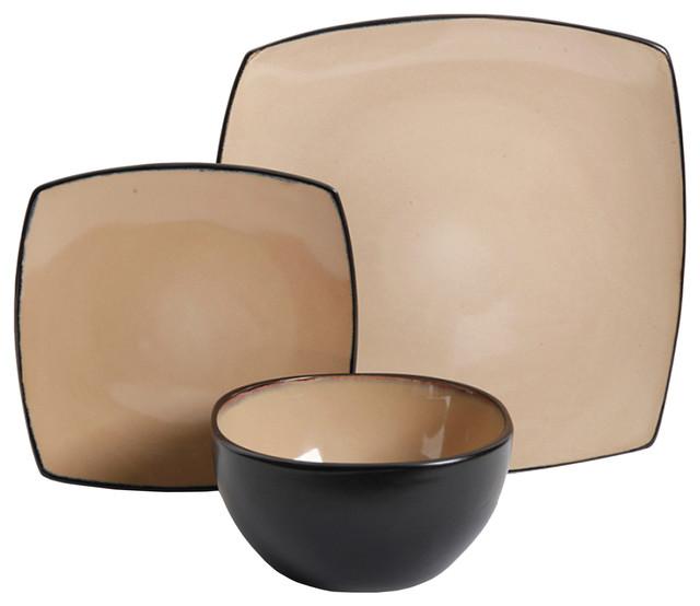 Soho Lounge 12-Piece Soft Square Dinnerware Set Taupe contemporary- dinnerware-sets  sc 1 st  Houzz & Soho Lounge 12-Piece Soft Square Dinnerware Set - Contemporary ...