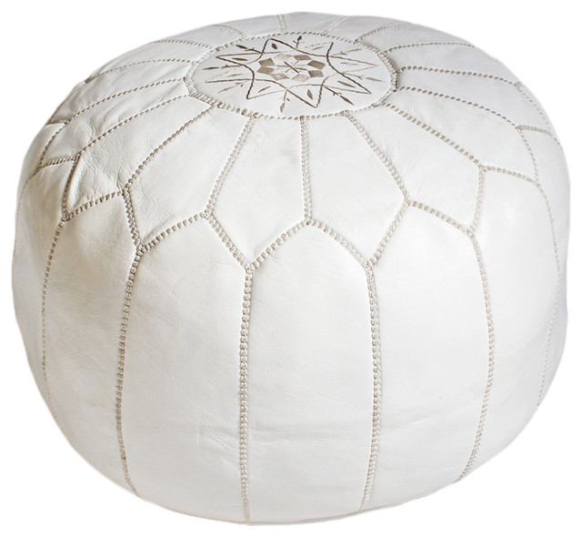 White Leather Pouf, Ottoman - Mediterranean - Floor Pillows And Poufs - by Design Mix Furniture