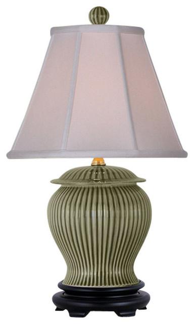 """Celadon Ridged Porcelain Jar Table Lamp 21""""."""