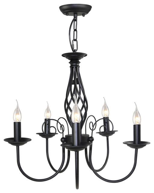 LNC Antique Chandeliers 5 Light Pendant Lighting Black