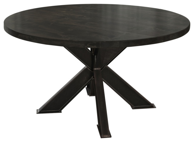 Round Steel X Base Pedestal Table Industrial Dining Tables By James And James Furniture Houzz