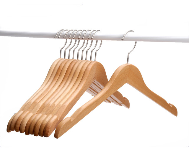J.s. Hanger Natural Solid Beech Wooden Clothing Hangers, Set Of 10.