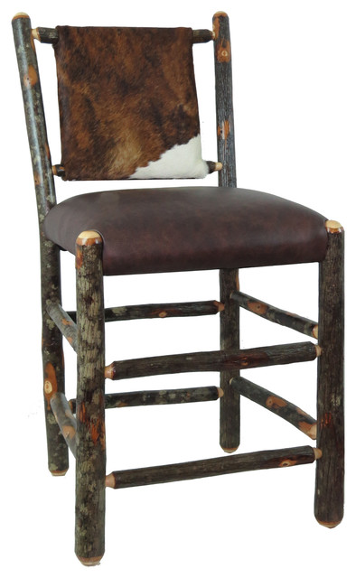 """24"""" Hickory Bar Stool With Upholstered Back and Seat, Distressed Cow Hide"""