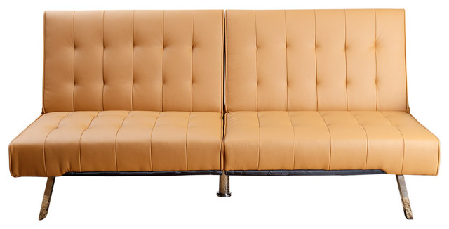 Jackson Leather Foldable Futon Sofa Bed Camel