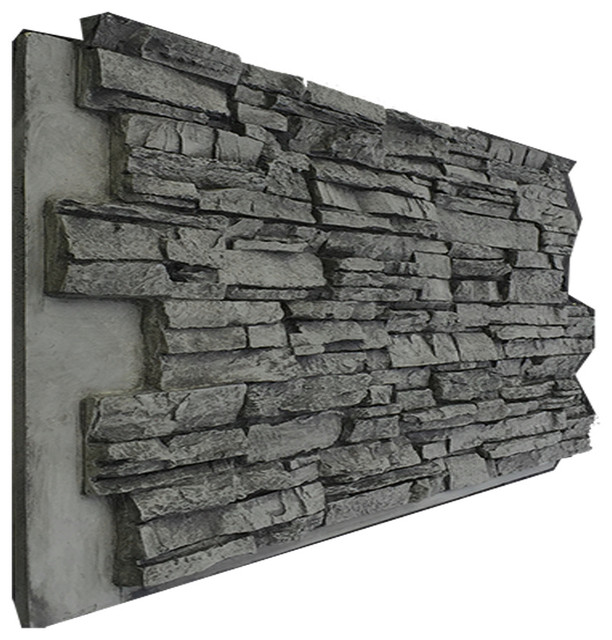 Stacked Stone Home Exterior: Deep Stacked Stone Wall Panel, Aspen