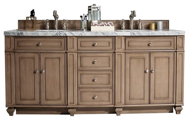 "Stirling Double Bathroom Vanity, Whitewashed Walnut, 72""."