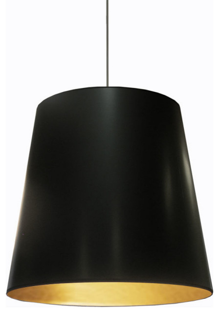 Odette 1-Light Oversized Drum Pendant, Black on Gold
