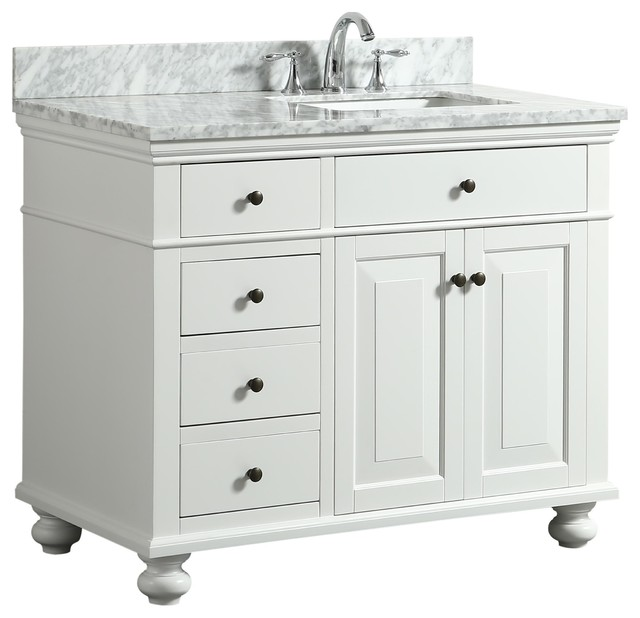 Dustin White Bathroom Vanity With Marble Counter, 42.