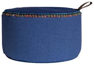 Fish Design Market Large Soul Round Ottoman, Blue