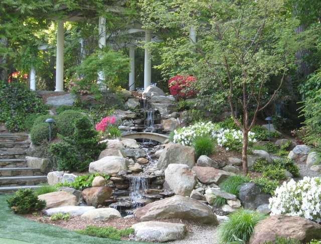 Rock Waterfalls With Landscaping Gardens Traditional