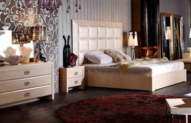 Armani Xavira Glam Champagne Bedroom Set Modern New York By