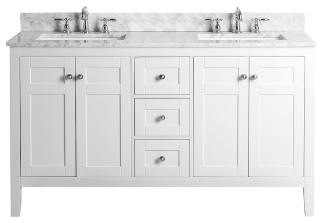 Maili Vanity, White With Carrara Marble Top and Silver Hardware, 60""