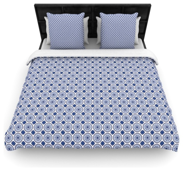 Carolyn Greifeld Bohemian Blues Ii Blue Geometric Duvet Cover