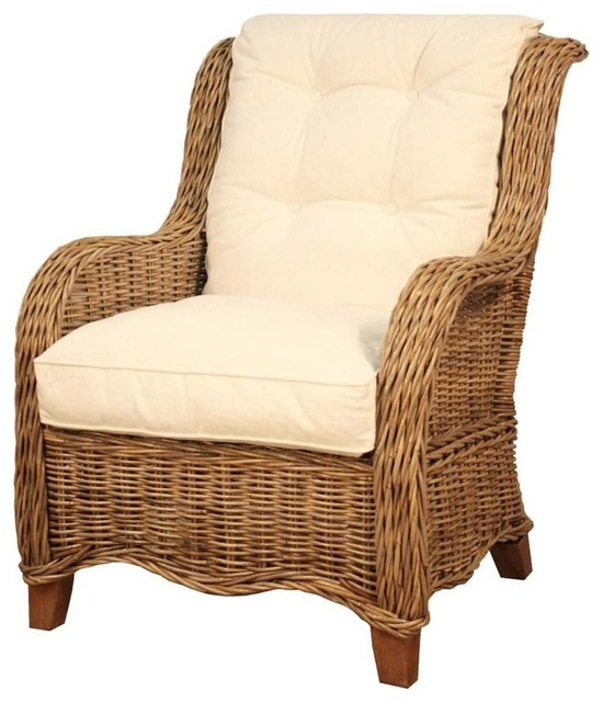 Attractive Palm Spring Rattan Arm Chair, Natural Gray