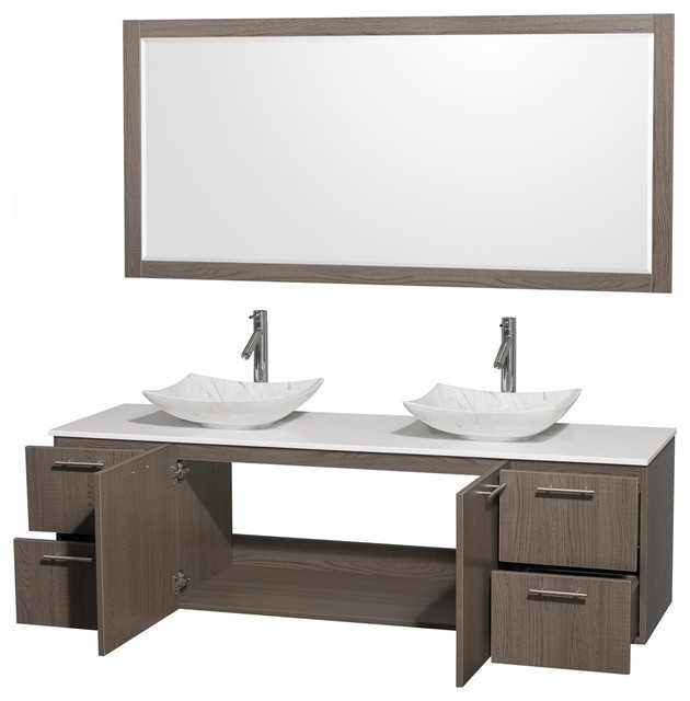 "Amare 72"" Gray Oak Double Vanity, White Man-Made Top, Arista Carrera Marble Sink."