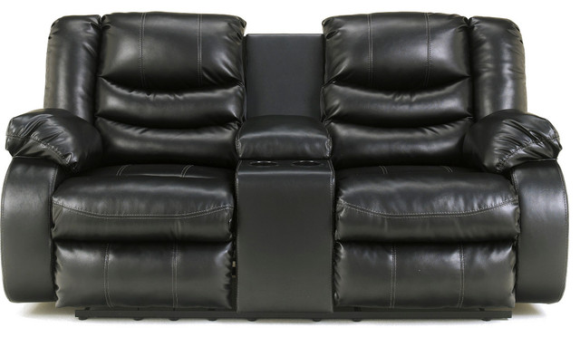 Ashley Furniture Linebacker Double Reclining Loveseat With Console Black Contemporary Loveseats By Gwg Outlet