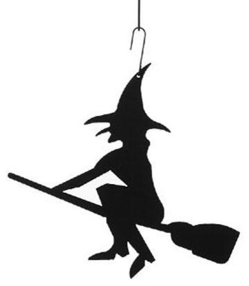 Exceptional Wrought Iron Festive Witch Decoration Hanging Silhouette