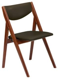 Comfort Folding Chair, Black Vinyl/ Cherry Frame