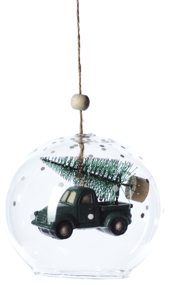 Vintage Truck Clear Christmas Ball Ornaments Set Of 6 Farmhouse Christmas Ornaments By Zodax