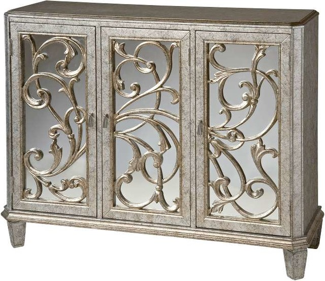 Stein World Leslie Mirrored Cabinet In Antique Silver.
