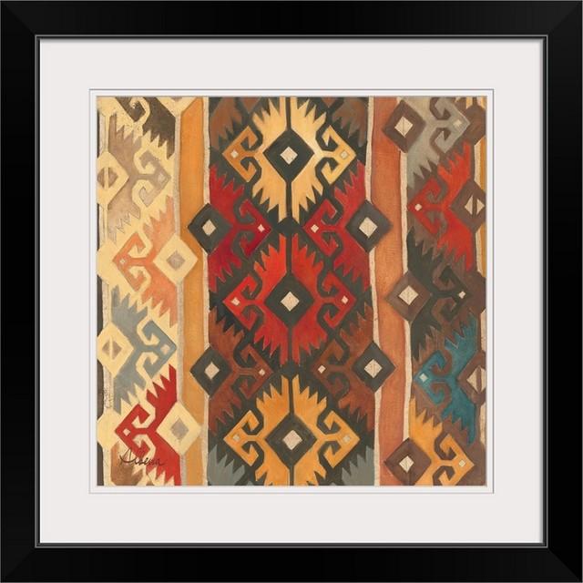 Southwest Pattern Ii Black Framed Art Print 24 X24 X1