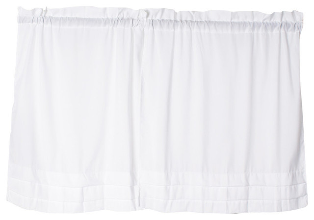 Holden Solid White Kitchen Curtain Traditional