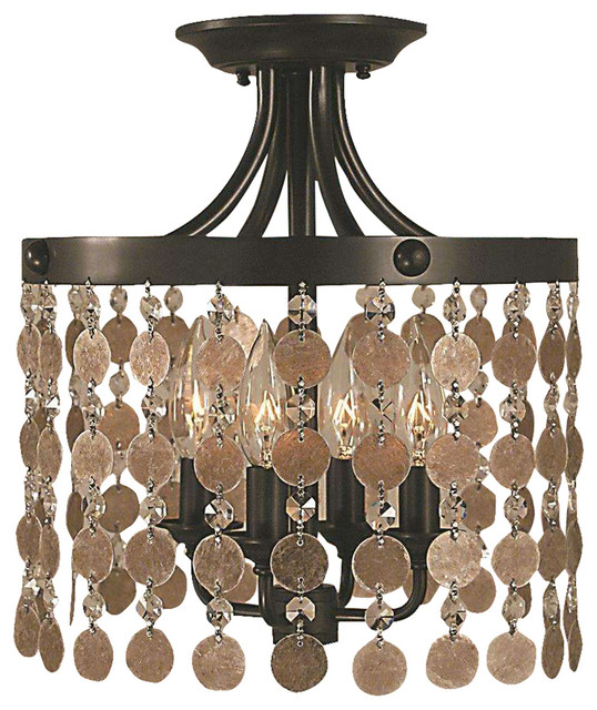 Framburg 2482 Mb Naomi Semi Flush Mount Light, Mahogany Bronze.