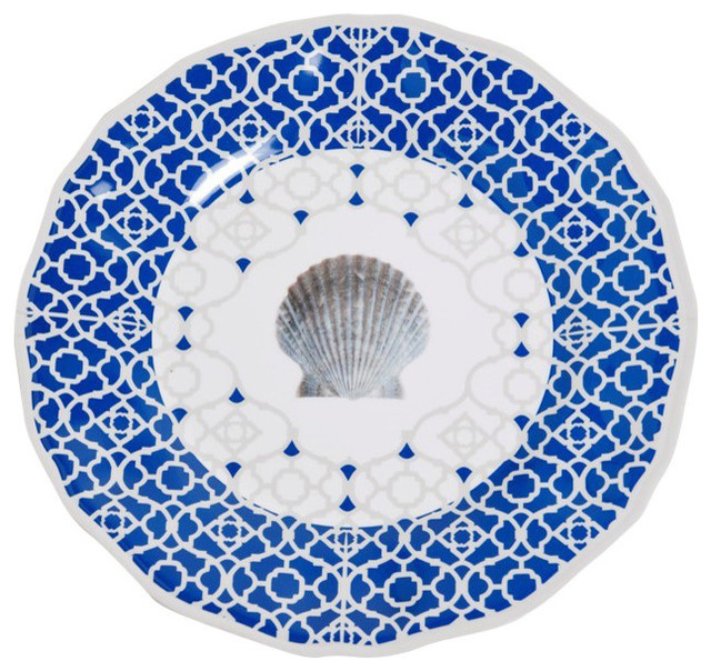 Galleyware Moroccan Shell Melamine Dinner Plates Set Of 4
