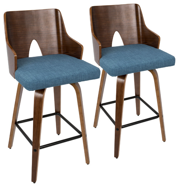 Prime Lumisource Ariana 26 Counter Stool Walnut And Blue Set Of 2 Caraccident5 Cool Chair Designs And Ideas Caraccident5Info