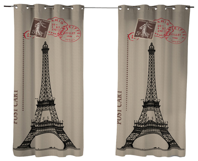 Bonjour Paris Curtain Panel - Contemporary - Curtains - by DREAM & FUN ...