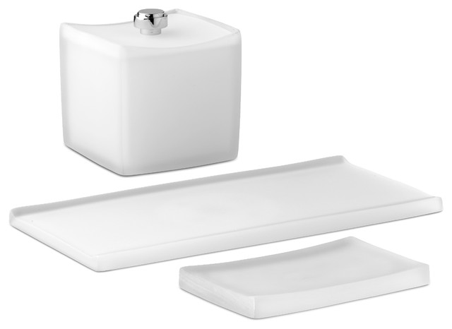3 Pc Bathroom Asscessories Set In White Modern Bathroom Accessory Sets