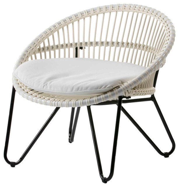 Rounded Rattan Accent Chair With Black Legs, White