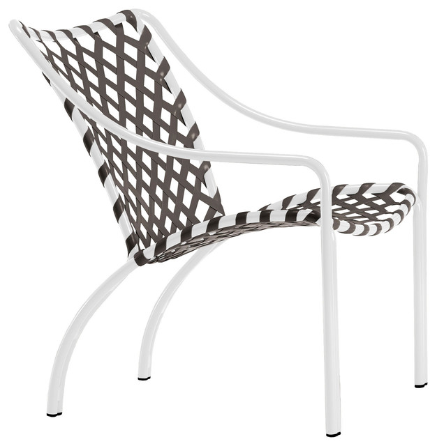 Tamiami Lounge Chair, Vinyl Lace, Mica Strap, White Lite Finish    Contemporary   Outdoor Lounge Chairs   By Brown Jordan