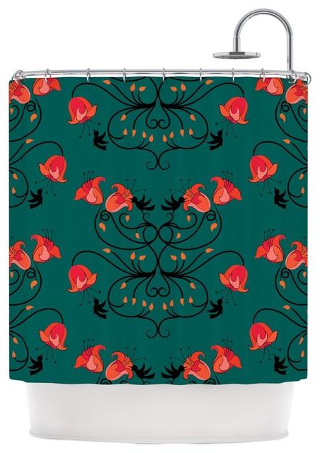 Yenty Hummingbird Teal Red Shower Curtain
