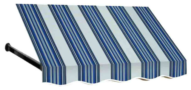 3&x27; Dallas Retro Window Awning, 24 Hx36 D, Navy, Gray, And White.