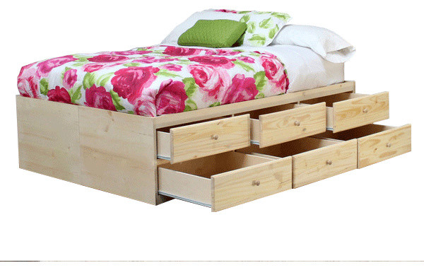 full storage bed with 12 drawers unfinished