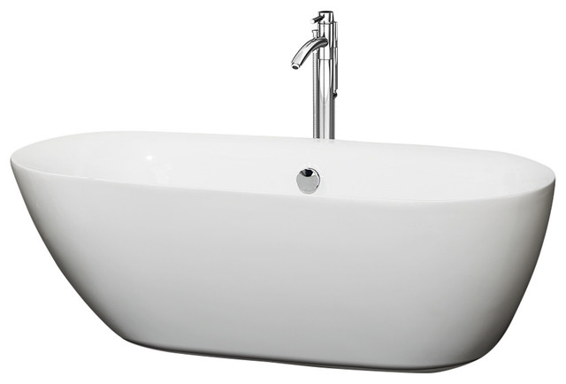 65 Freestanding Tub White Floor Mounted Faucet Drain Overflow