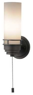 203-78 Contemporary 1-Light Sconce With Pull-Chain Switch, Bronze.