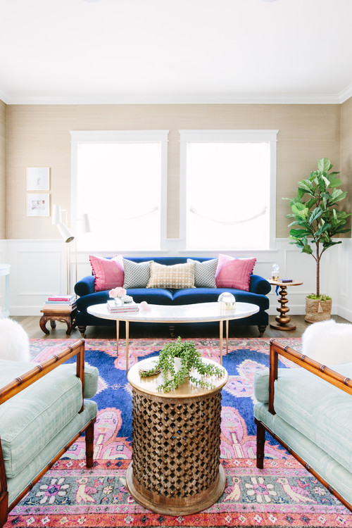 Kismet Rug In Navy Caitlin Wilson Chairs Previously Owned By Client And Reupolstered Chunari Sage Blue Raoul Textiles Console Tables Under Windows